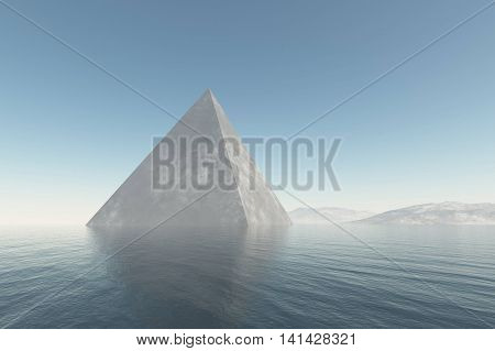 Stone in the ocean water relaxation conceptual background 3D rendering illustration