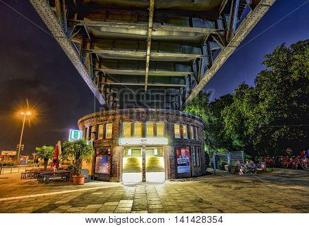 Famous Subway Station Landungsbruecken Near St. Pauli By Night