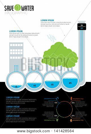 Save Water Infographic concept color, eco, icon, design