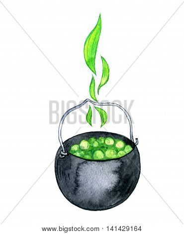 halloween symbol, watercolor black witches cauldron with a green potion and bubbles, hand drawn illustration, isolated design element