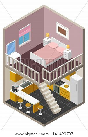 Vector illustration isometric house apartment with furniture