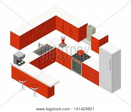Vector illustration isometric kitchen with red furniture.
