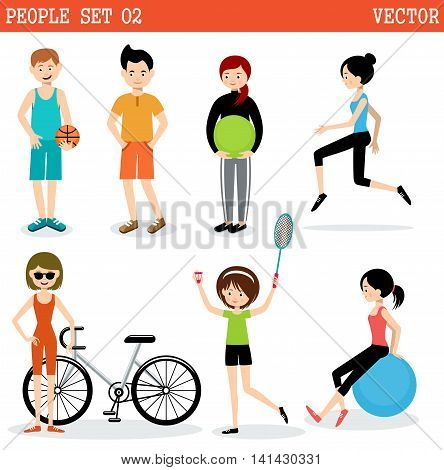 Set of the people playing sports. Active lifestyle. Vector illustration