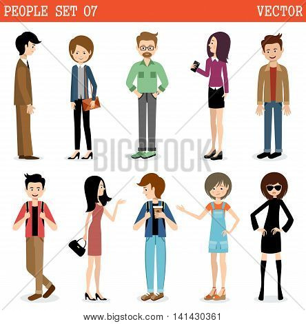 Set of modern people men and women. Street style.Vector illustration