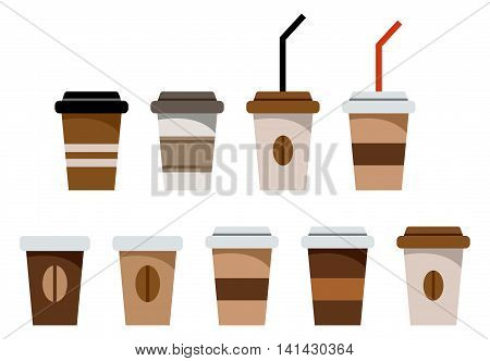 Set of paper glasses for coffee isolated on the white background