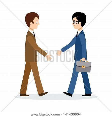 Two businessmen sign the contract on the white backgroundt. Vector