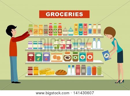 People in a supermarket. Groceries. Vector illustration