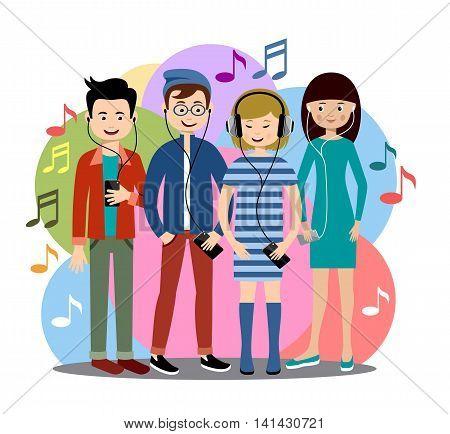 Modern people listen to music on gadgets. Vector illustration