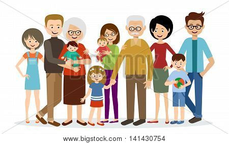 Big family on a white background. Vector illustration