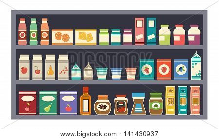 Grey shelves with products . Vector illustration