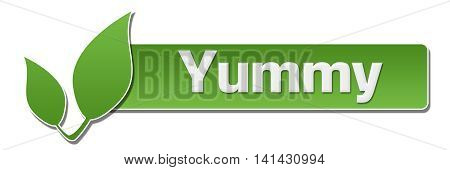Yummy text written over green background with leaves symbol.