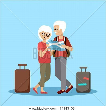 Couple of elderly people travel and look at the map. Vector