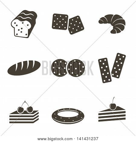 Different bread icons on a white background. Vector illustration