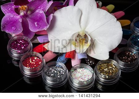 fresh orchids with big bright manicure set