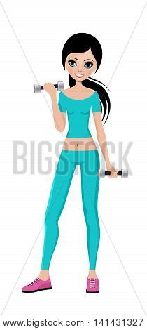 Sports girl with dumbbells in a training suit. Fitness trainer. Vector