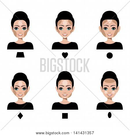 Contour and Highlight makeup. Correction by a make-up of different shapes of faces. Vector