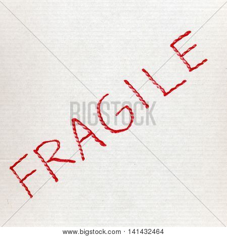 White Corrugated Cardboard With Fragile Text