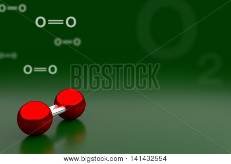 Oxygen Or O2 Molecule Background, 3D Rendering
