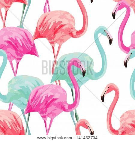 Composition of the trendy summer nature bird red pink blue flamingos. Hand drawn watercolor. Fashion seamless vector pattern art design wallpaper on a white background