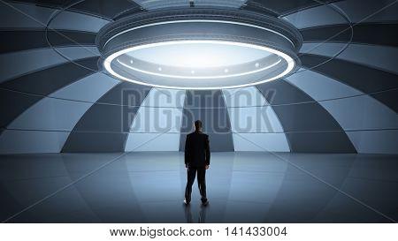 Man in futuristic interior. Mixed media . Mixed media