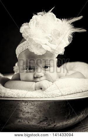 Cute newborn baby girl lying in a pelvis with headband. Funny  portrait of a child.