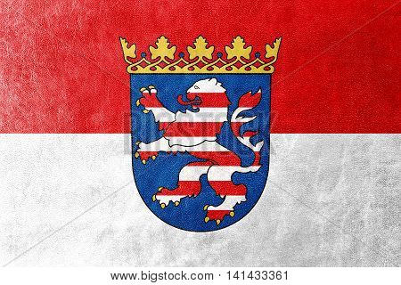 Flag Of Hesse With Coat Of Arms, Germany, Painted On Leather Texture