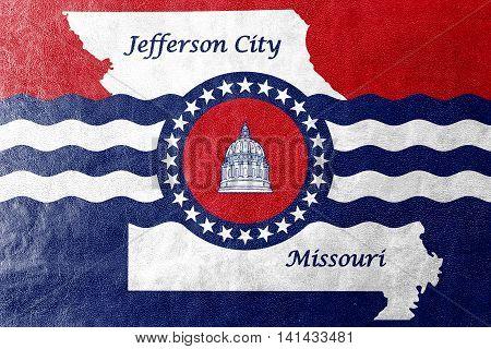Flag Of Jefferson City, Missouri, Usa, Painted On Leather Texture
