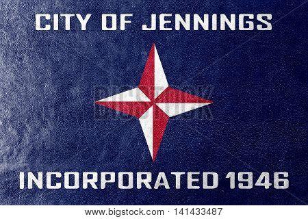 Flag Of Jennings, Missouri, Usa, Painted On Leather Texture
