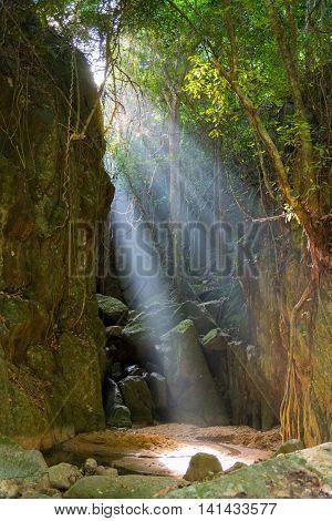 Wang Sao Thong Waterfall Drained During Summer, Koh Samui, Thailand