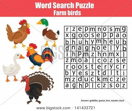 Word search puzzle. Find words children game. Farm birds learning nature and english vocabulary