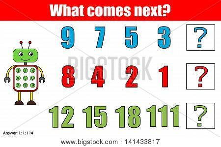 What comes next educational children game. Kids activity sheet training logic continue the row task. Mathematics game with numbers for school years kids