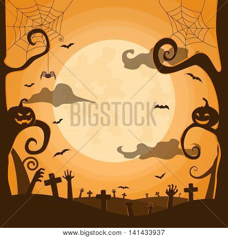 Halloween night background in graveyard with pumpkins bats full moon spider zombie hands and space for your Halloween holiday text
