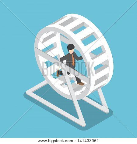 Isometric Businessman In A Suit Running In A Hamster Wheel