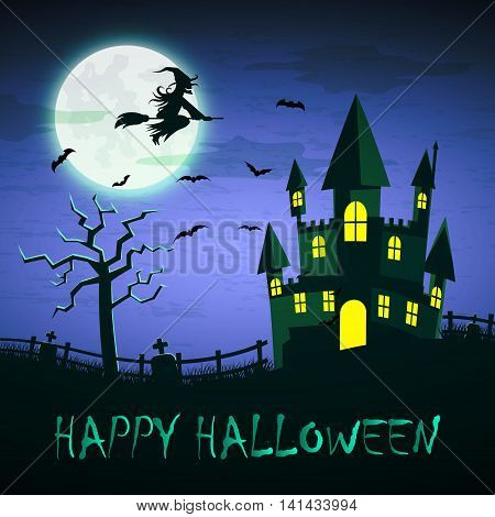 Witch Flying On A Magic Broomstick Over The Spooky Haunted Castle