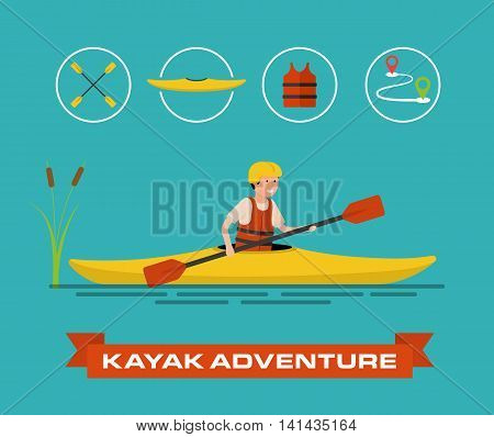 Vector illustration of a cartoon kayaker. The man drives the kayak. Plus some icons - paddle boat, vest and route