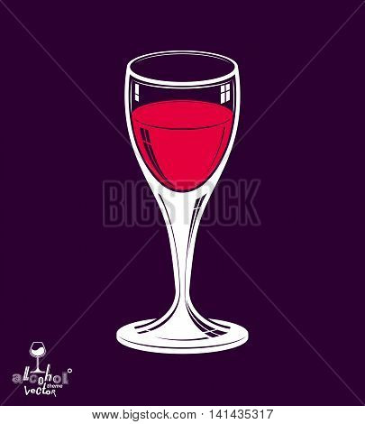 Realistic 3d wineglass placed over dark background beverage theme illustration.