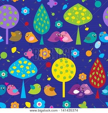 Seamless pattern with a different colored cute birds