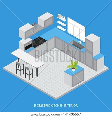 Isometric kitchen interior with cabinets cupboards white counter window tiled floor microwave on blue background vector illustration