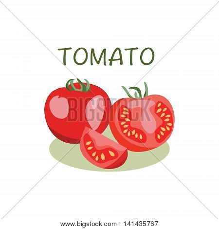 Tomato icon in flat style Isolated object. Tomato logo. Vegetable from the farm. Organic eco food illustration.