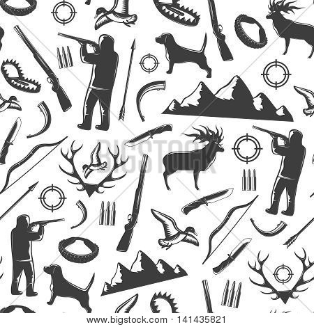 Hunting seamless background pattern with black isolated elements of hunting and equipment vector illustration
