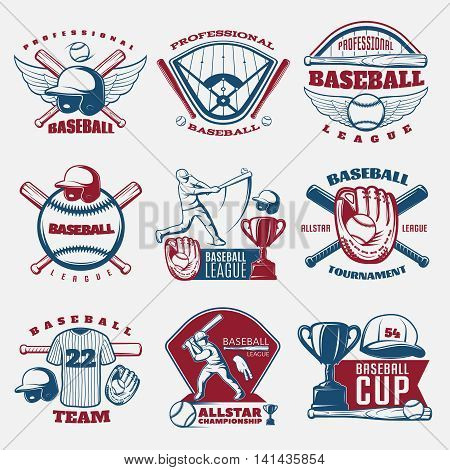 Baseball colored emblems of teams and tournaments with trophy sports field and outfit isolated vector illustration
