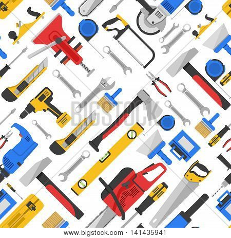 Work tools seamless pattern with equipment for repair and carpentry on white background vector illustration