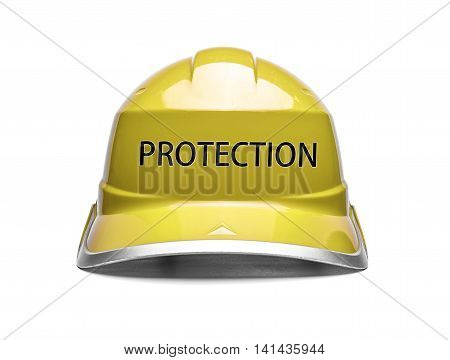 Yellow safety helmet with an inscription protection on a white background