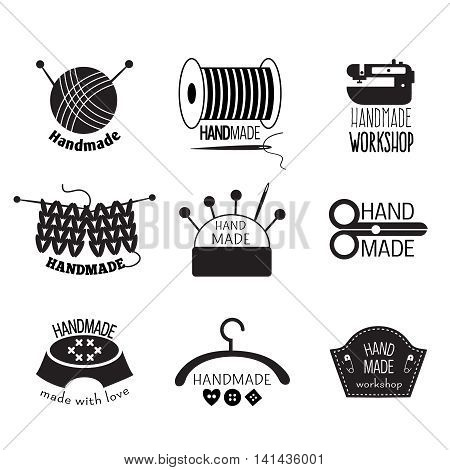 Handmade monochrome logos with knitting tools sewing machine cushion for needles spool of thread isolated vector illustration
