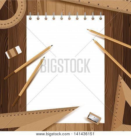 White paper with pencil, ruler, eraser and sharpener on lath boards.