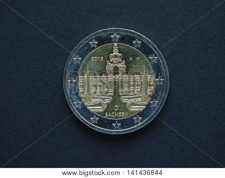 2 Euro (eur) Coin, Currency Of European Union (eu)