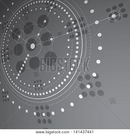 Bauhaus retro art vector background made using grid and circles.
