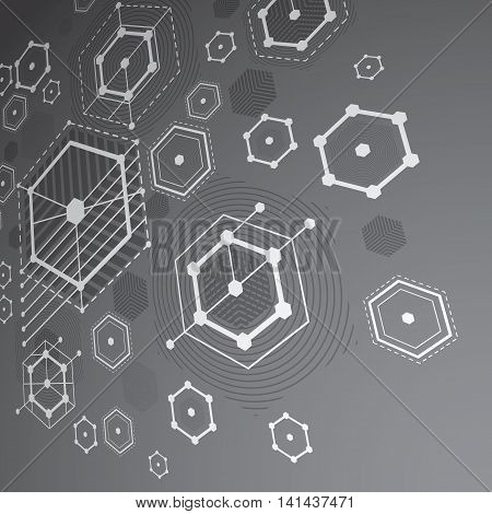 3d vector Bauhaus abstract gray background made with grid and overlapping simple geometric elements hexagons and lines.