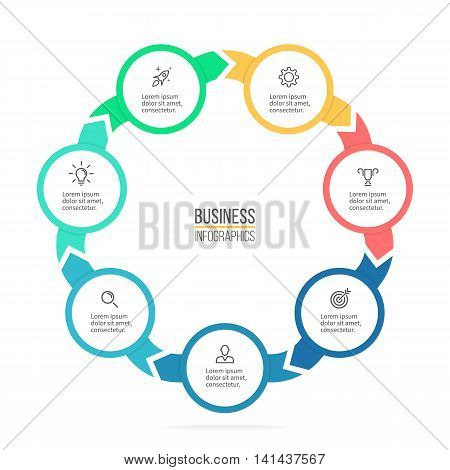 Circular infographics. Business diagram with 7 steps. Vector design element.
