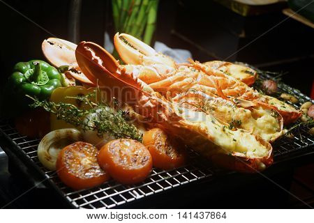 North American lobster caught fresh oysters Royal buffet on grill